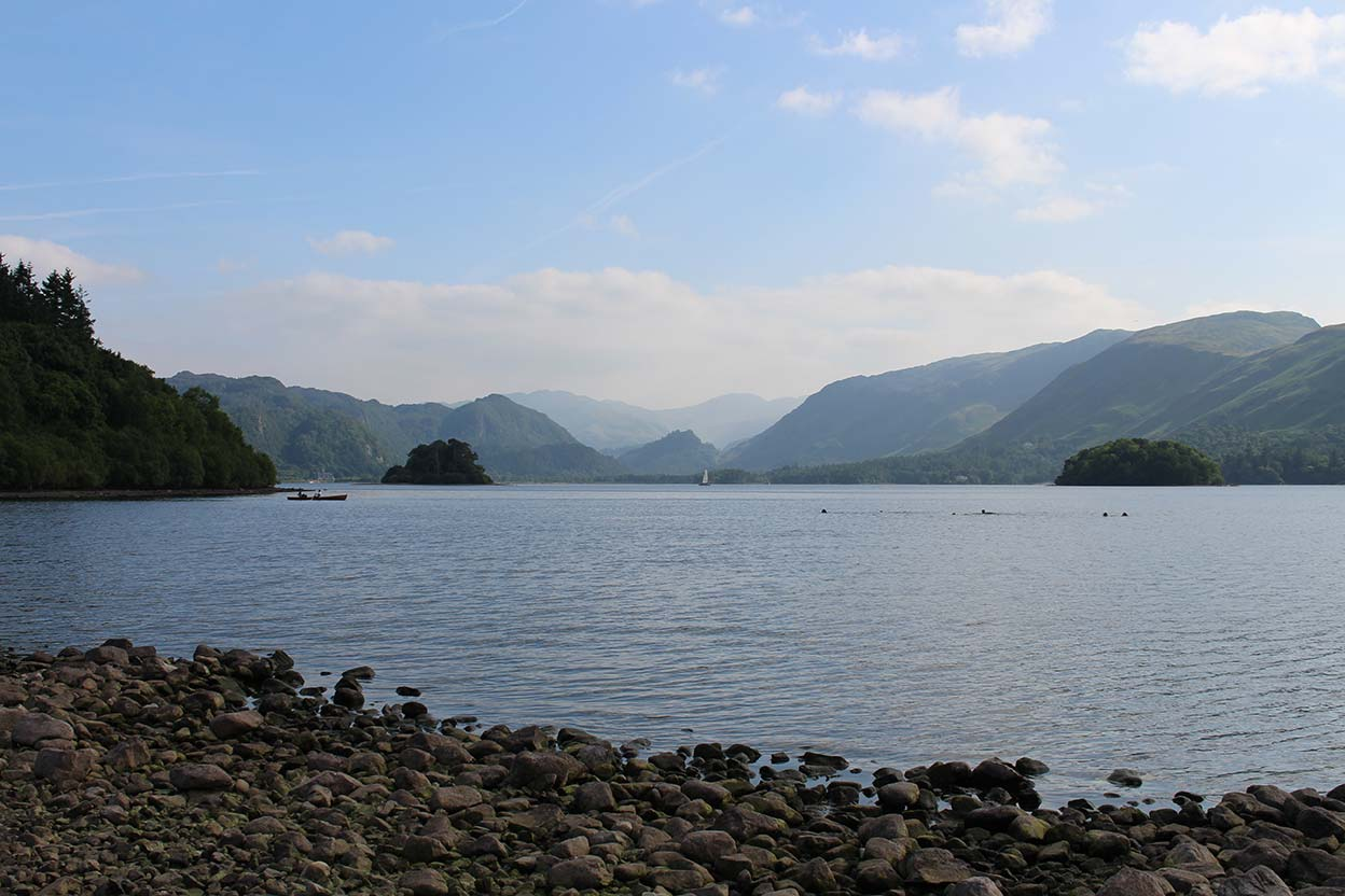 View from the Lakeshore near Keswick looking up Borrowdale