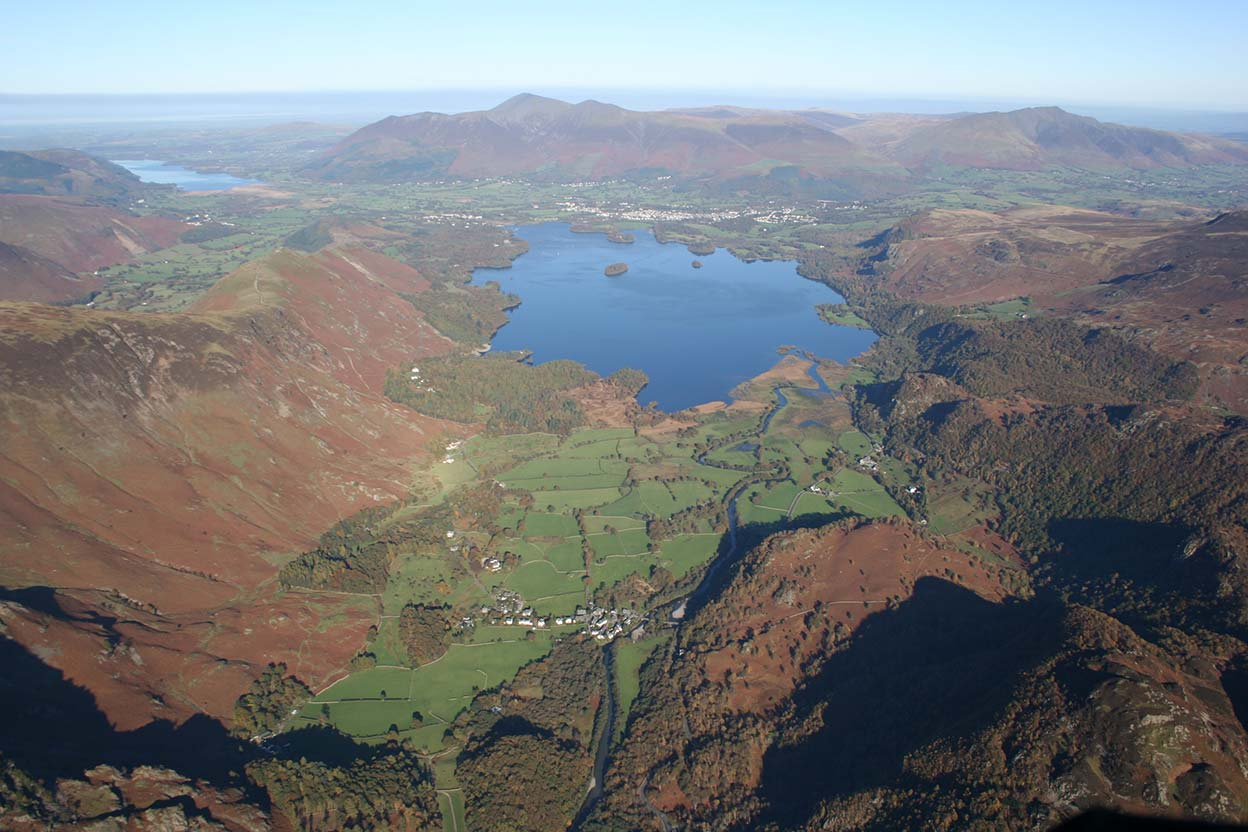 High panorama looking north from above the jaws of Borrowdale