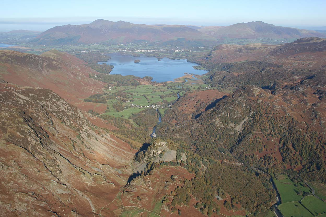Jaws of Borrowdale towards Derwentwater Skiddaw and Saddeback