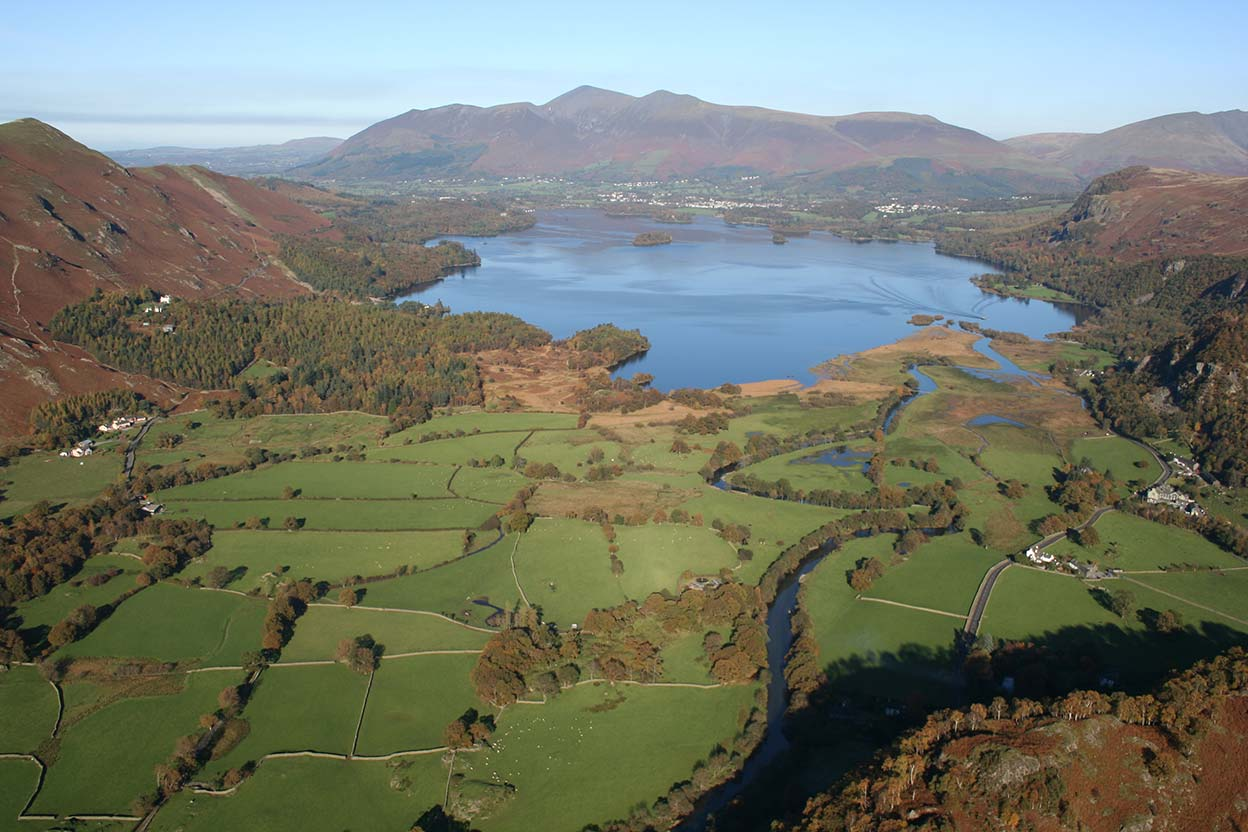 Manesty Catbells Derwentwater and Skiddaw from above Grange