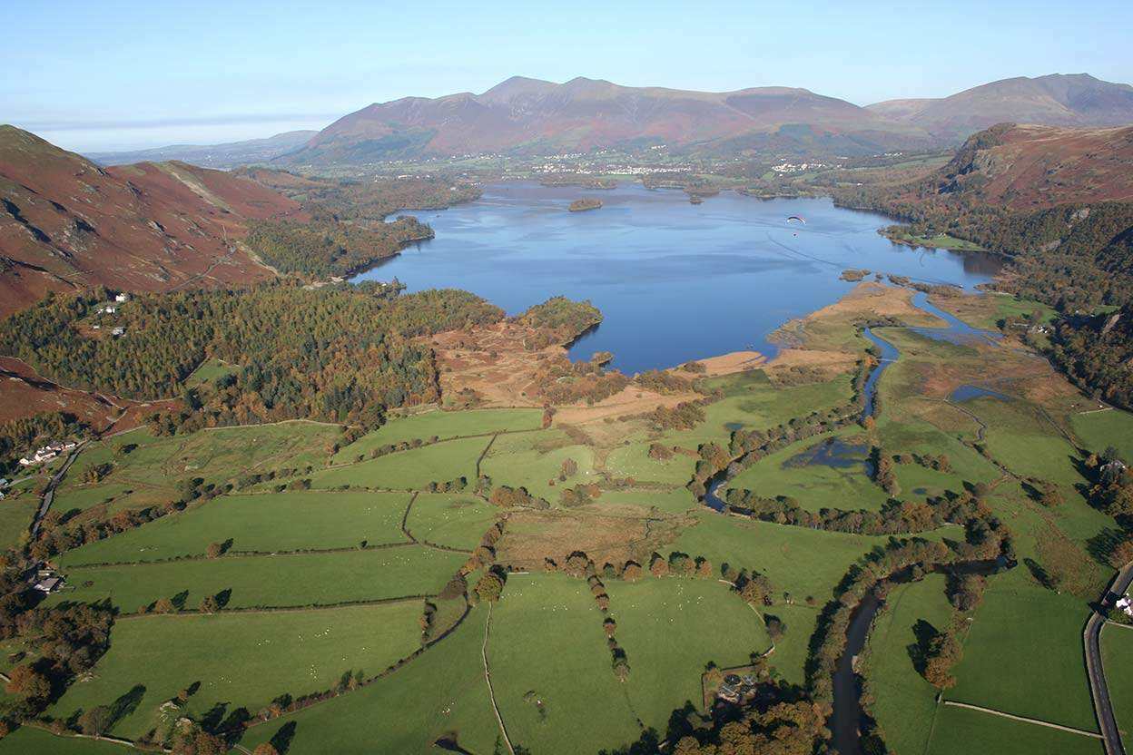Manesty Derwentwater Skiddaw and Saddleback from above Grange