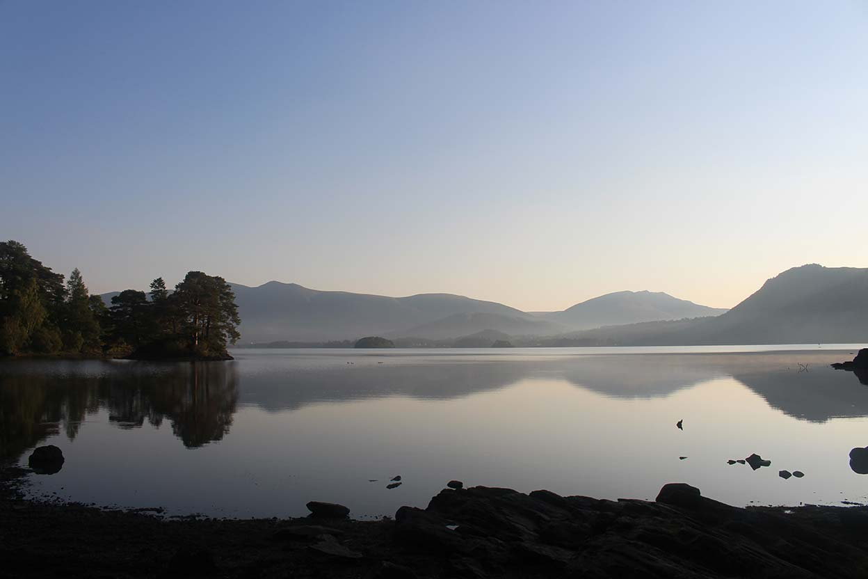 Derwentwater before dawn looking north to Skiddaw Blencathra and Walla Crag