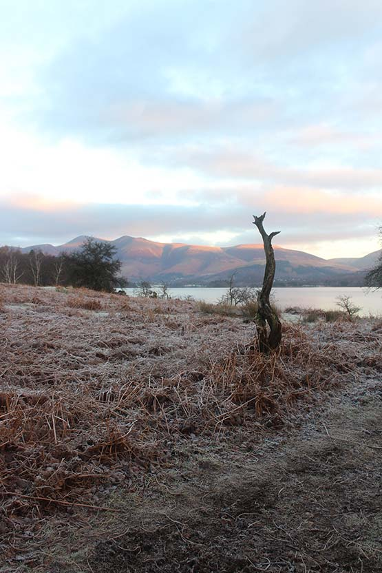 Winter at Derwentwater looking at Skiddaw
