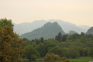 Castle Crag and Borrowdale Fells from Manesty Band's lawn