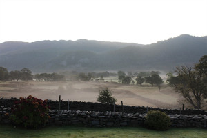 Morning mist from Manesty Band's lawn