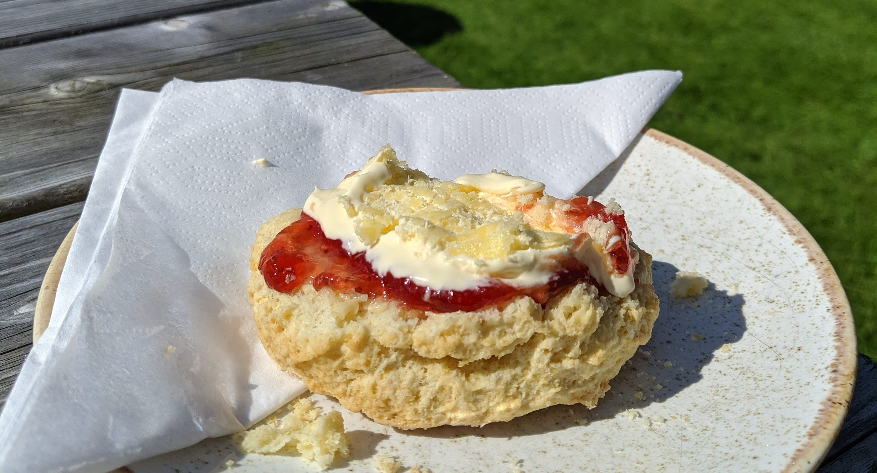 Jam and cream scone at Littletown Farm
